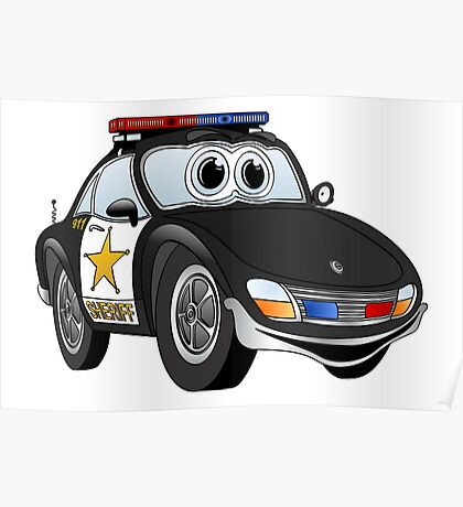 Black and White Sheriff Car Poster