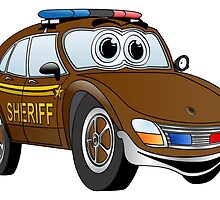 Brown Sheriff Car Cartoon by Graphxpro