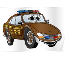 Brown Sheriff Car Cartoon Poster