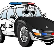 Black and White Police Car Cartoon by Graphxpro