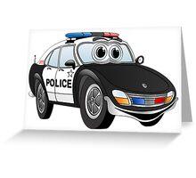 Black and White Police Car Cartoon Greeting Card