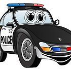 Police Sports Car Cartoon by Graphxpro