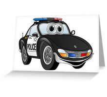 Police Sports Car Cartoon Greeting Card