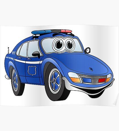 State Patrol Car Cartoon Poster
