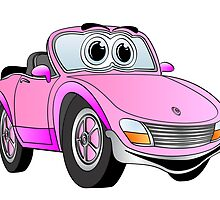 Convertible Pink Sports Car by Graphxpro