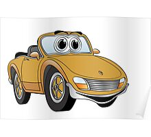 Convertible Brown Sports Car Poster