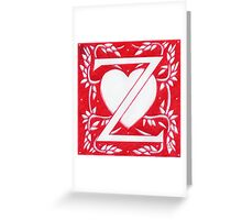 Red Heart Letter Z Greeting Card