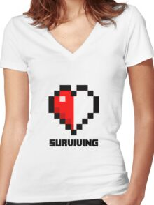 Gaming Heart Women's Fitted V-Neck T-Shirt