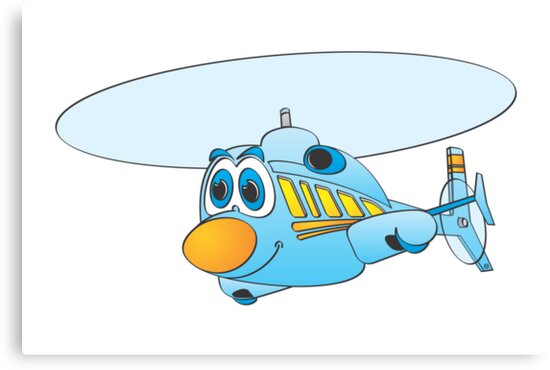 Blue Helicopter Cartoon by Graphxpro