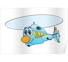 Blue Helicopter Cartoon Poster