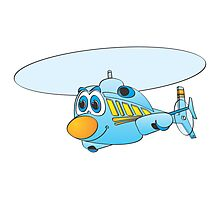Blue Helicopter Cartoon Photographic Print
