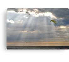 Kites between the sun rays..... Canvas Print