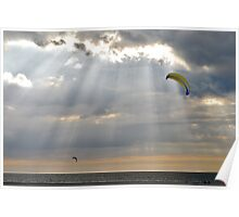 Kites between the sun rays..... Poster