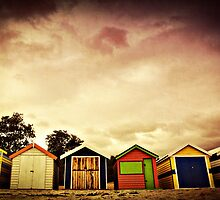 Bathing boxes, Brighton Beach by Caroline Duncan