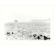 Hazy beach scene Art Print