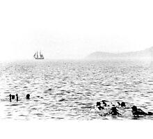 Hazy beach scene Photographic Print