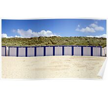 Beach Cabins in White&Blue Poster