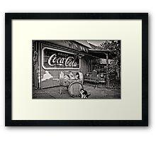 The Cat,Cart,Car and Coca-Cola Framed Print