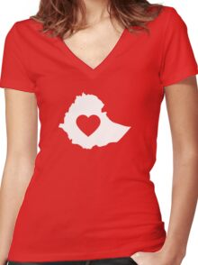 A piece of my heart is in Ethiopia (White) Women's Fitted V-Neck T-Shirt