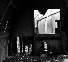 Window through splintered wood by Littlered1990