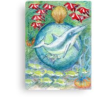 Mother dolphin  Canvas Print