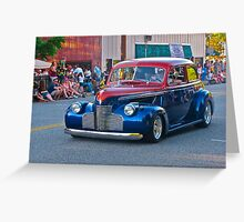 Red and Blue Classic Car Greeting Card