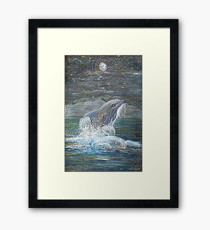 Dolphin Leap for the Moon Framed Print