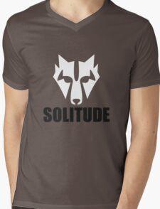 Solitude Wolf Mens V-Neck T-Shirt