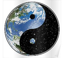 Earth / Space Yin Yang Symbol Poster