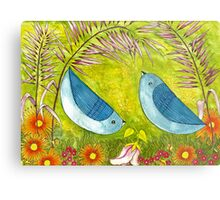 Courtship Under the Bower Metal Print