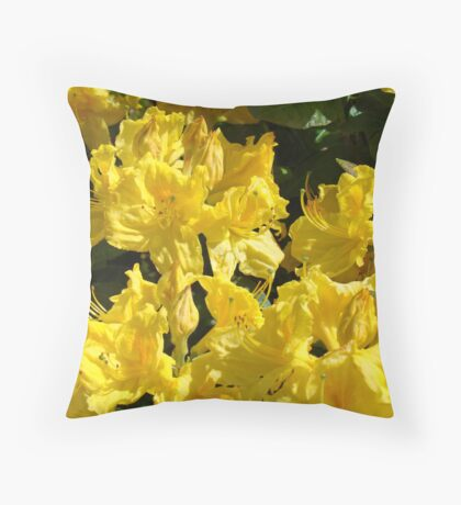 Yellow Rhodies art Colorful Rhododendrons Flowers Throw Pillow
