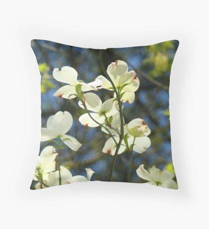 White Dogwood Flowers Tree art print Blue Sky Throw Pillow