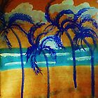 Windy sunset,in the palms on beach, watercolor by Anna  Lewis