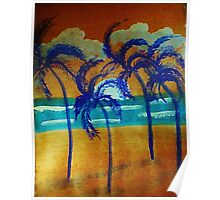 Windy sunset,in the palms on beach, watercolor Poster