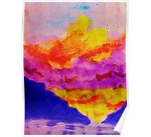 Vibrant sky line , watercolor Poster
