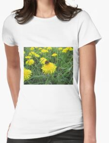Bumble bee on dandelion (2) Womens Fitted T-Shirt
