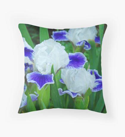 Iris Flowers Garden Purple White Irises Baslee Troutman Throw Pillow