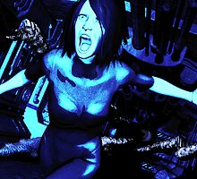 Corridor Horror in Stark Blue by John Garrett
