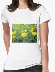 Bee on dandelion Womens Fitted T-Shirt