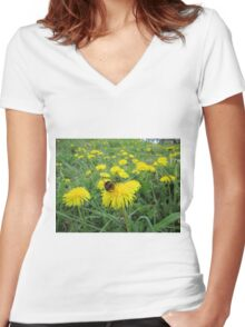 Bumble bee on dandelion Women's Fitted V-Neck T-Shirt