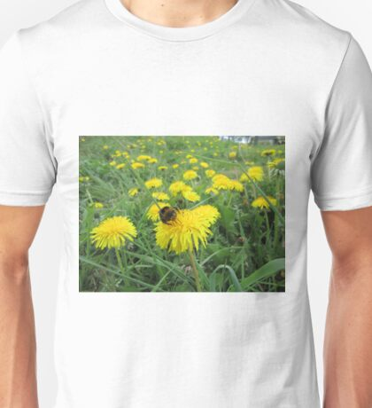 Bumble bee on dandelion Unisex T-Shirt