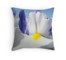 White Iris Flower Macro Close-up Blue Sky White Clouds Throw Pillow