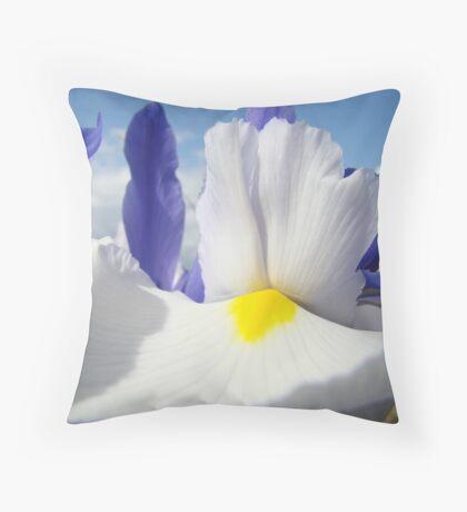 White Iris Flower Macro Close-up Blue Sky White Clouds Throw Pillow