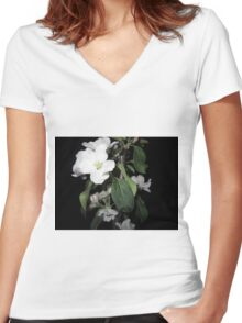 Apple blossom at night (6) Women's Fitted V-Neck T-Shirt