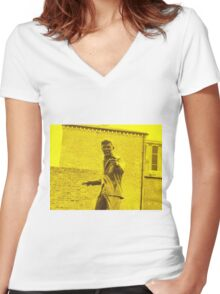Billy Fury Statue. Women's Fitted V-Neck T-Shirt
