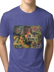 Fire is everywhere when a UFO crashes on planet earth and people gets hypnotized Tri-blend T-Shirt
