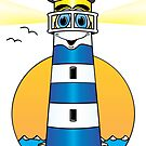 Lighthouse Cartoon Dark Blue White by Graphxpro
