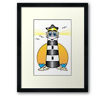 Lighthouse Cartoon Black White Framed Print