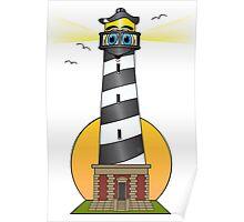 Lighthouse Cartoon Cape Cod Poster