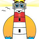 Lighthouse Cartoon Red White by Graphxpro
